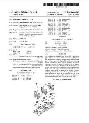 Anterior Cervical Plate Patent 9629664