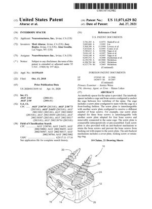 Interbody Spacer Patent 11071629